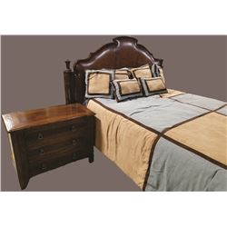 Century Furniture Queen Bedroom Set Century Leather Back Headboard, 3 Drawer  Century Night Stand, N