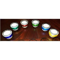 Guilloche Enamel Set 6 Salt Dips David-anderson Norway Circa 1925-1930