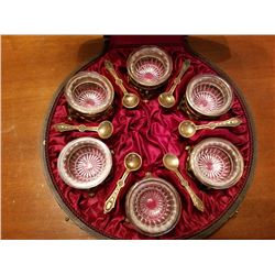 Salt Dips-spoon In Fitted Case Very Unique Highly Collectable