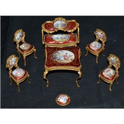 Miniature Bronze And Enamel Parlor Set The Parlor Set Is A True Masterpiece Being  Cast Using The Lo