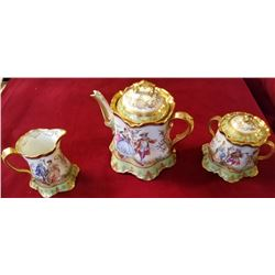Dresden Tea Set Tea Pot, Sugar, And Creamer