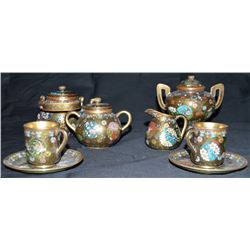 Japanese Cloisonné Tea Set By Takahara Komakichi Circa 1885—1895 Cloisonne On Bronze  Signed By: Tak