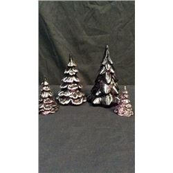 Four Fenton Purple Glass Trees