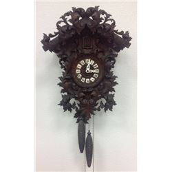 Heavily Carved Black Forest Clock