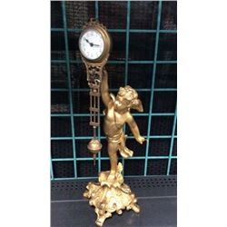 Gold Guilt Swinging Arm Mystery Clock 16 In Tall