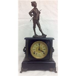 Sessions Mantle Clock Wth Bronze Statue