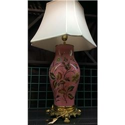 Large French Scenic Enamel Decorated Lamp