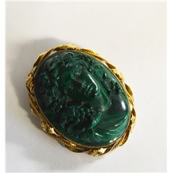Victorian Malachite Cameo Brooch/pendant This Exquisite Victorian Cameo Is An  Intricately Carved De