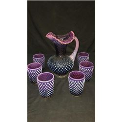 Fenton Plum Hobnail Picture And Six Cups