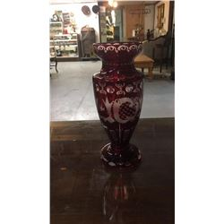 Ruby Cut Back To Clear Vase 12 in tall