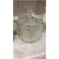 Large Crystal Covered Dish 10 in tall