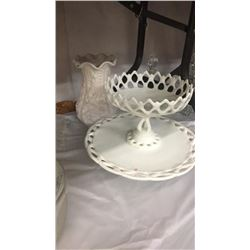 3 Milk Glass Pieces Vase, candy dish on pedestal, and cake plate