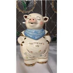 "Pig Cookie Jar Limited Edition Mark Supnicks commemorative edition ""1992""  smiley Signed 52/150"