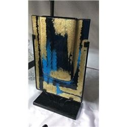 18'' Art Glass Vase In Metal Stand
