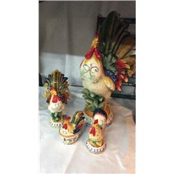 4pc Ceramic Rooster Set