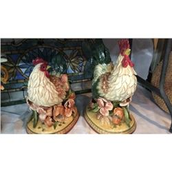 Pair Of Fitz And Floyd Ceramic Roosters 19'' Tall