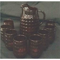 Cranberry Pitcher And 8 Cups