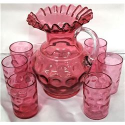 Pink Cranberry Pitcher And 6