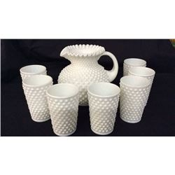 Milk Glass Hobnail Pitcher & 7