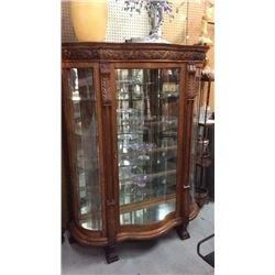 Oak Serpentine Front / Bow Side Glass China 53''W x 69''T x 19''D