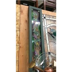 2 Wood Framed Stained Glass Panels