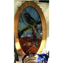 Stained Glass Parrot In Oak Frame