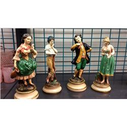 4 1920s French Statues One Damaged