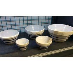 5 Blue Banded Roseville Mixing Bowls