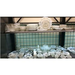 Over 125pc Collection Of White Frosted Rim hobnail dishes