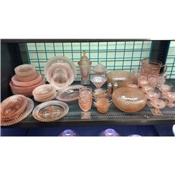 54pc Collection Of Pink Cut Glass Dishes