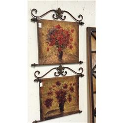2 Painted Canvas Wall Hanging Decorations