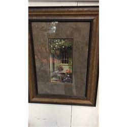 2 Framed Pictures Of Flowers On Porches