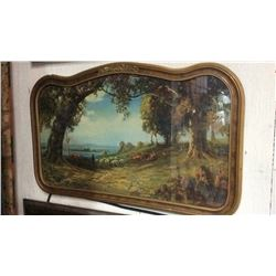 "Nice Early Picture Called ""indian Summer"" In Antique Frame"