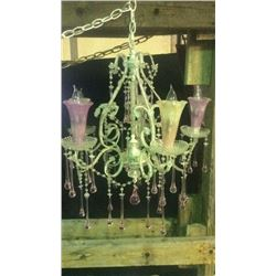 Pink And Clear Chandelier With Pink Glass Tear drops