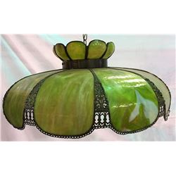 Green Leaded Glass Tiffany Style Hanging Lamp