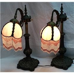 Pair Leaded Glass Night Stand Lamps