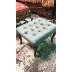 Blue Upholstered Foot Stool