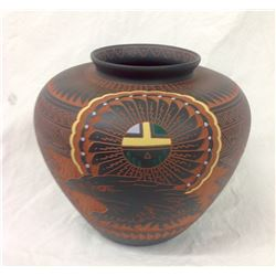 Navajo Carved And Decorated Pot Artist Signed