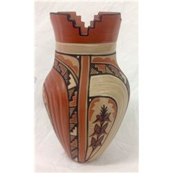 Carved And Decorated Indian Vase Artist Signed