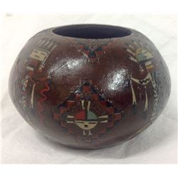 Indian Pot With Engraved Kachina Signed N A C