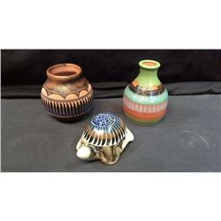 3 Navajo Clay Pieces. Turtle & 2 Small Vases All 3 Pieces Signed
