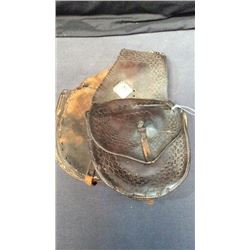 Early Saddle Bags By W.h. Scovel Thermopolis, Wy. Sterling Silver Star Conchos