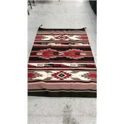 100% Wool Navajo Design Indian Rug 4' X 6'