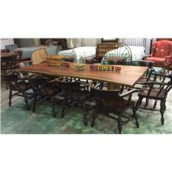 Slab Wood Table. Table Only 104''l X 48''w At The Biggest Points. Mounted  On 2 Slab Wood Pedestals.
