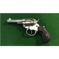 Colt Model 1877 Lighting Revolver With Nickel Finish And Etched Panel On Barrel  Cal.38 Dates 1883 C