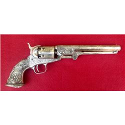 Colt 1851 Navy Revolver Engraved Silver & Gold Plated With Tiffany Style Figural Grips Matching Numb