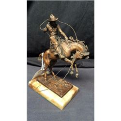Original Carl Kauba Bucking Horse Bronze 9 1/2''T Mounted on Marble