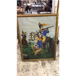 Large Oil on Board of Light Horse Harry Lee at Guilford 46''T x 36''W