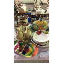 Lot of Kitchen Ware Items Studio Novo Hand Painted Covered Dish, Past &  Salad Set, Salt & Pepper, S