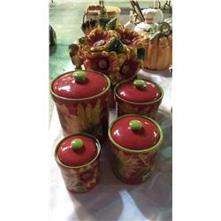 Sunflower Cookie Jar & Canister Set 5pcs